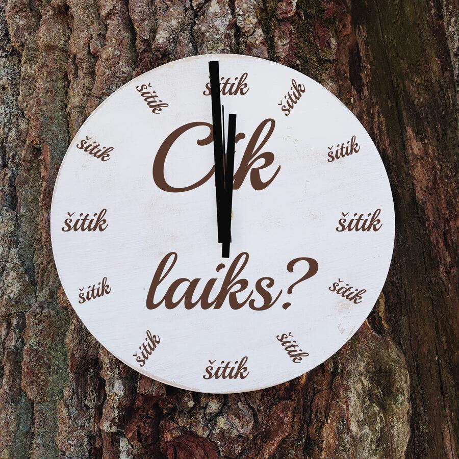 Koka pulkstenis ar gravējumu - Cik ir laiks?