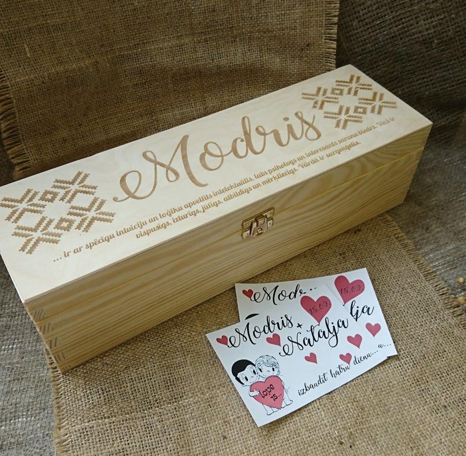Koka vīna kaste ar aizdarīti