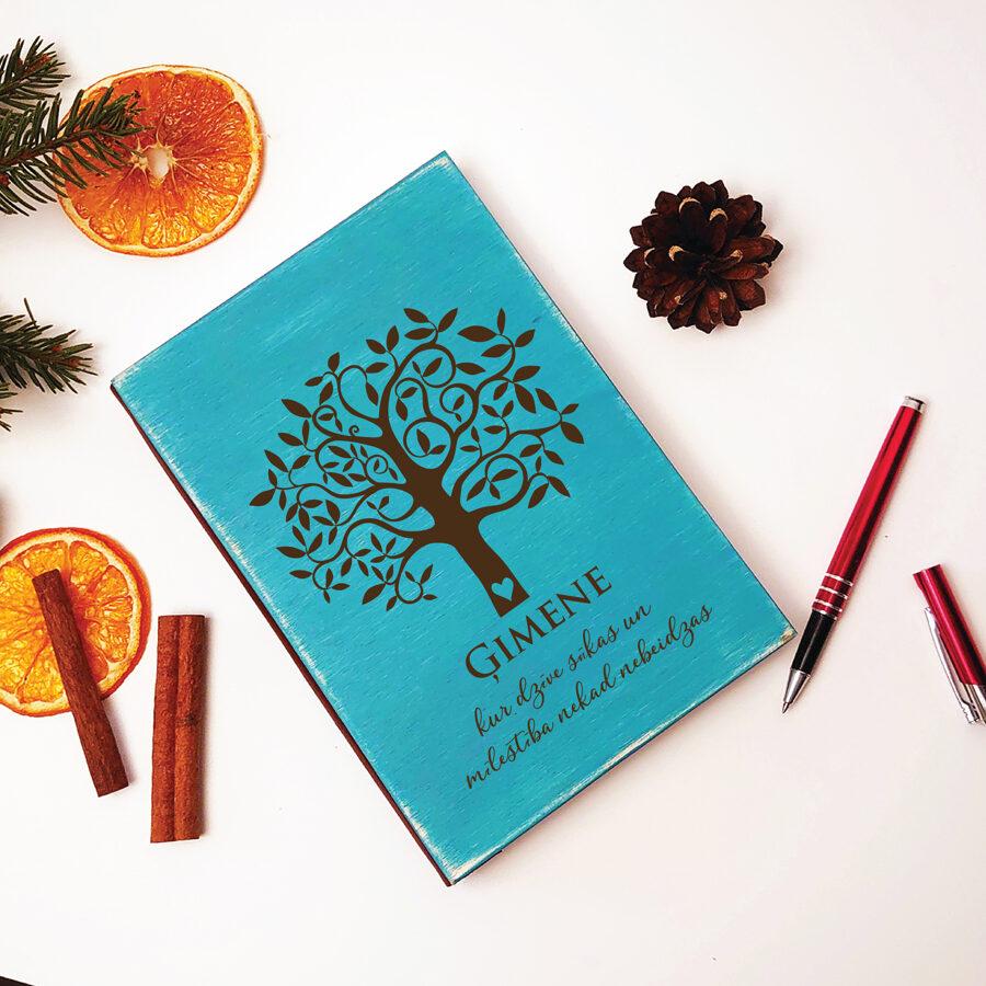 Piezīmju bloks/plānotājs koka vākos - Ģimenes koks