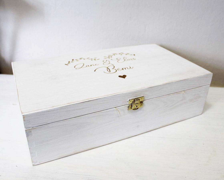 Vintage stila koka kaste ar 2 nodalījumiem /ZSKK59B/