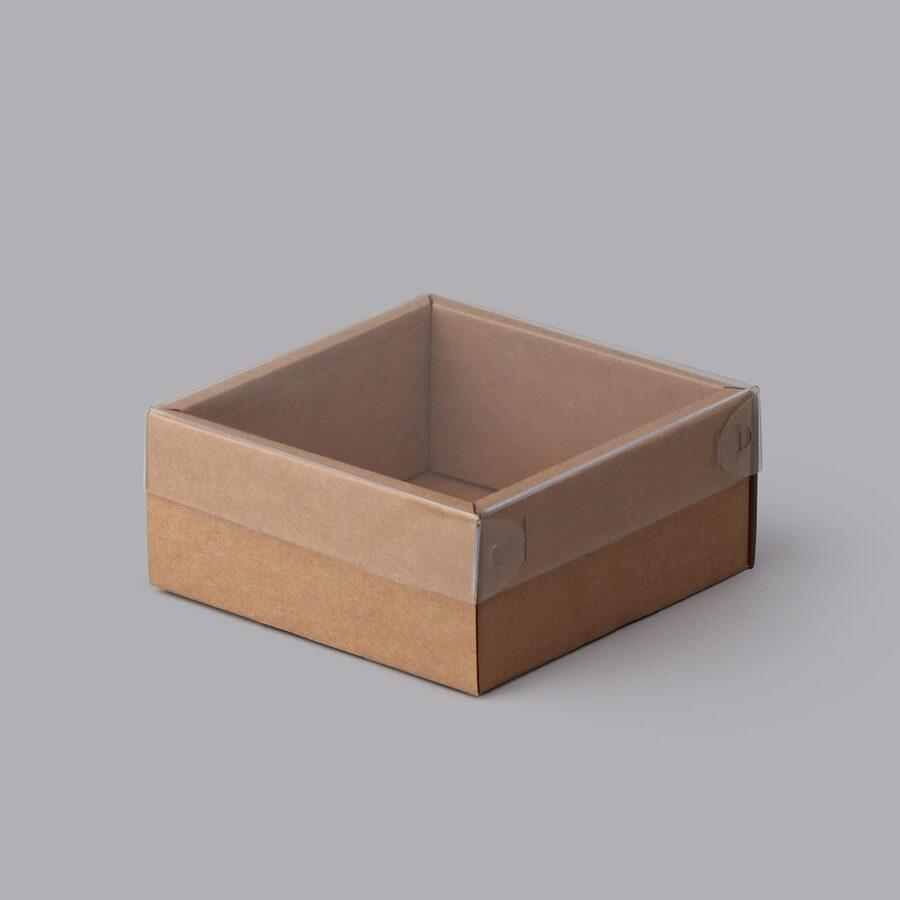 Kartona dāvanu kaste ar caurspīdīgu PE vāku  100x100x50mm  /ZSK35/
