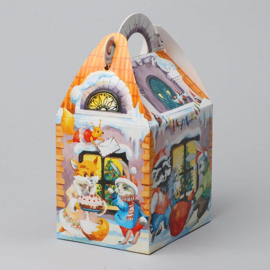 """Dāvanu kaste 135x107x125mm """"Ziemassvētku mājiņa"""" /ZSK47/"""