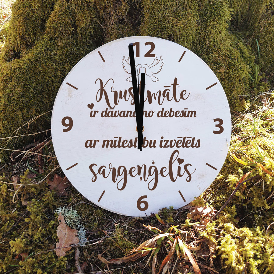 Koka pulkstenis ar gravējumu - Krustmāte