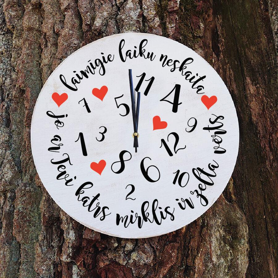 KOKA PULKSTENIS AR APDRUKU - Laiks un mīlestība