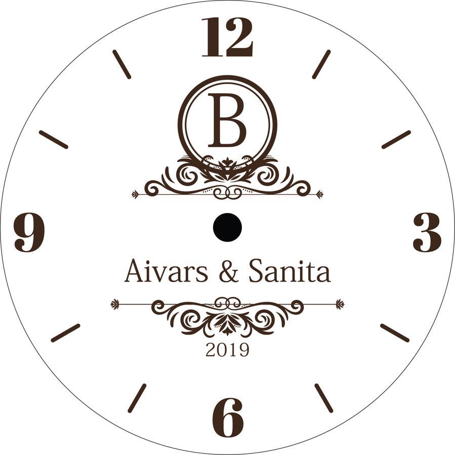 Koka pulkstenis ar gravējumu - Monogramma 2