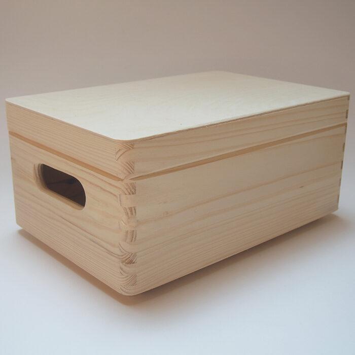 Koka kaste ar vāku - ar rokturiem (maza) 300x200x140mm /ZSKK90/