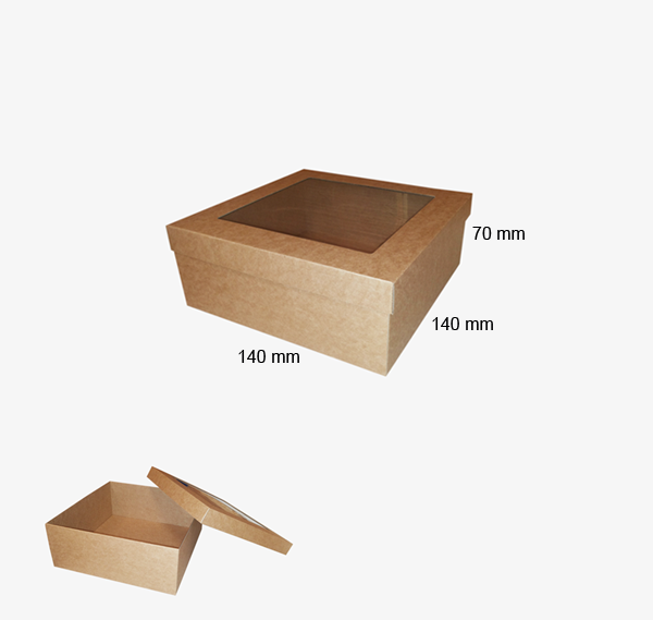 Mikrogofras kastīte ar logu 140 x 140 x 70 mm /ZSK16/