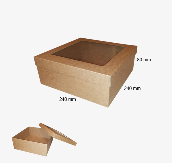 Kartona kastīte ar logu 240 x 240 x 80 mm /ZSK43/