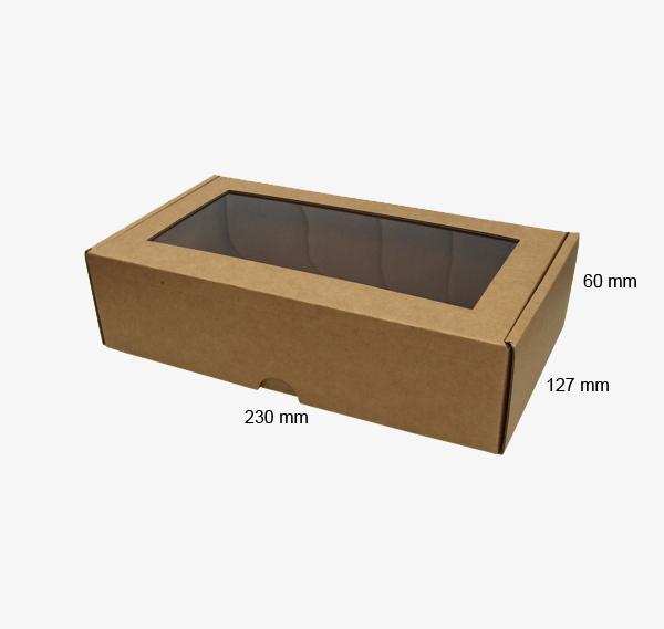 Kartona kastīte ar lodziņu 230 x 127 x 60 mm /ZSK9/
