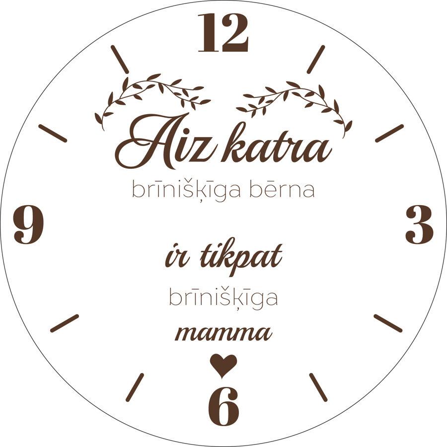 Koka pulkstenis ar gravējumu - Brīnišķīga mamma