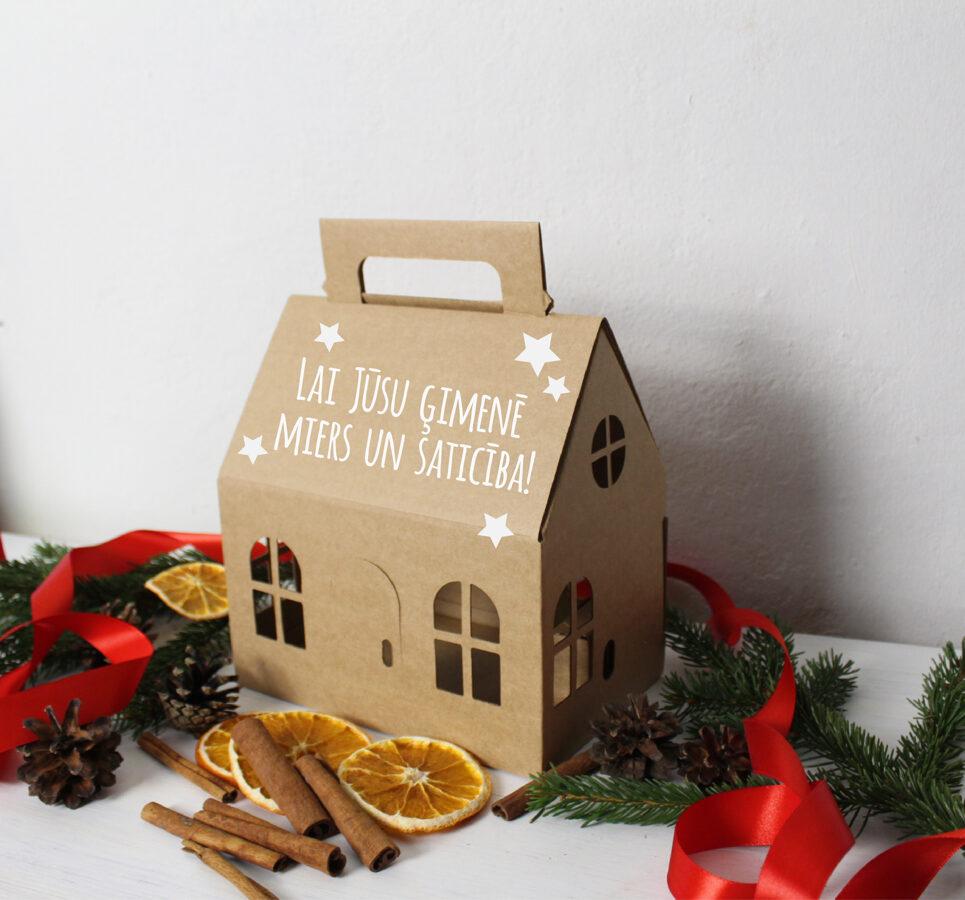 """Dāvanu kaste 200x130x120mm """"Ziemassvētku namiņš"""" BRŪNS /ZSK45B/"""