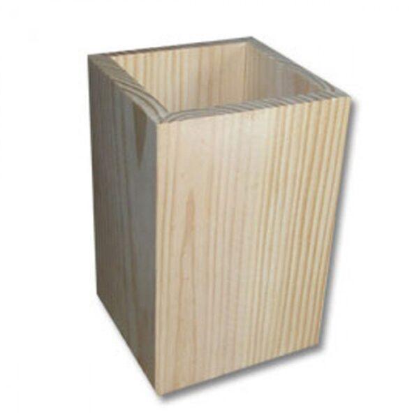 Rakstāmpiederumu koka trauks - kvadrātveida 75x75x110mm /ZSKK185/