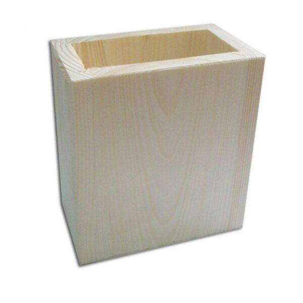 Rakstāmpiederumu koka trauks - kvadrātveida 100x55x110 mm /ZSKK186/
