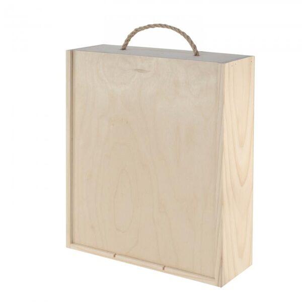 Koka vīna kaste trīs pudelēm 36 x 30 x 10.5 cm /ZSKK76/