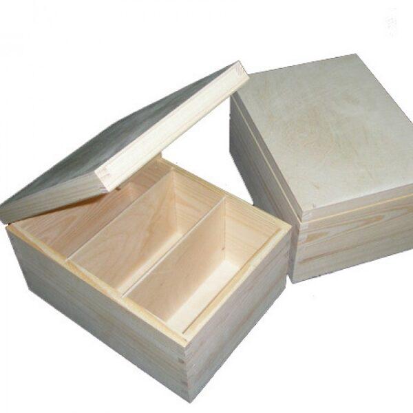 Koka kaste - lādīte ar 3 nodalījumiem 185x240x135 mm /ZSKK20/