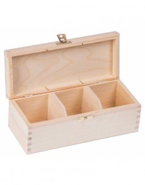 Koka kastīte ar aizdarīti un 3 nodalījumiem 93x225x8 mm /ZSKK154/