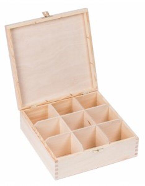 Koka kaste ar aizdarīti un 9 nodalījumiem 225x225x82 cm /ZSKK156/